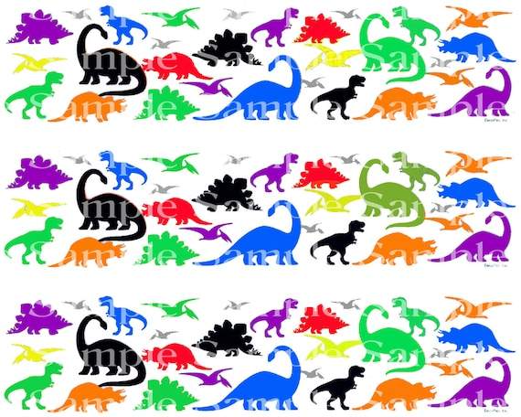 Colorful Dinosaurs Birthday - Edible Cake Side Toppers- Decorate The Sides of Your Cake! - D24302