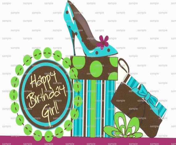 Happy Birthday  Girl High Heels - Edible Cake and Cupcake Topper For Birthday's and Parties! - D1401
