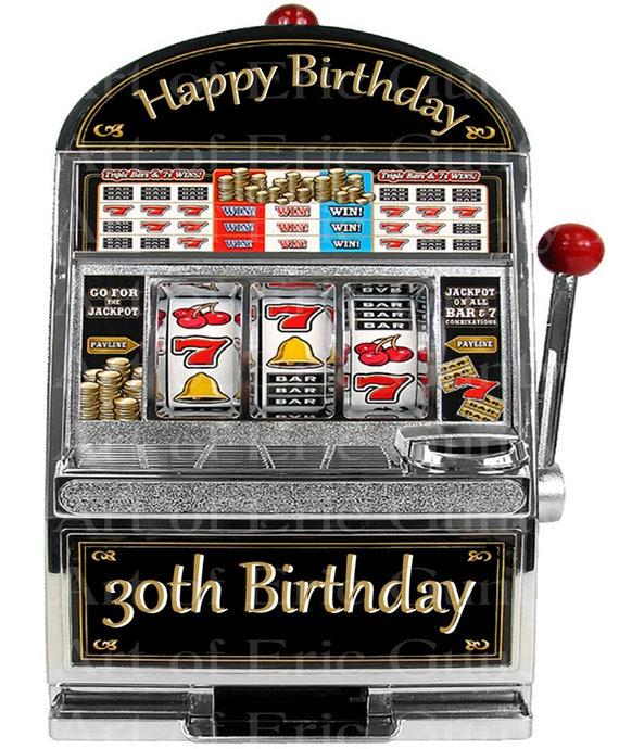 Las Vegas Happy 30th Birthday Slot Machine ~ Edible 2D Fondant Birthday Cake/Cupcake Topper ~ D22764