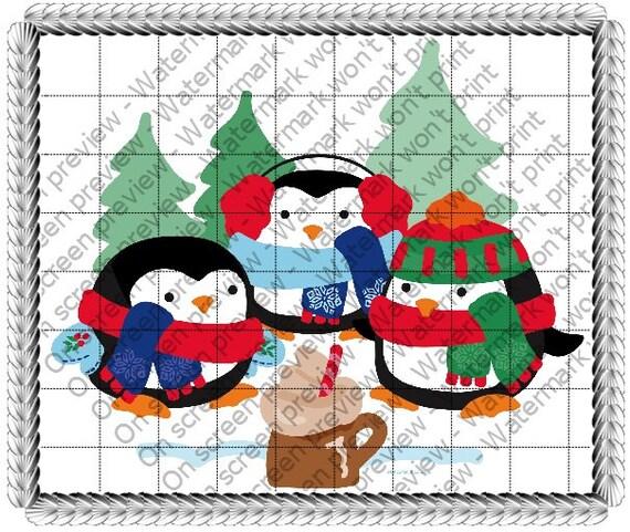 Merrymaking Penguins ~ Edible 2D Fondant Birthday Cake/Cupcake Topper ~ D170