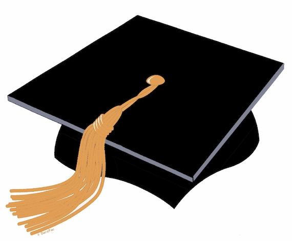 Black Graduation Cap With Gold Tassel Birthday ~ Edible 2D Fondant Birthday Cake/Cupcake Topper ~ D24708