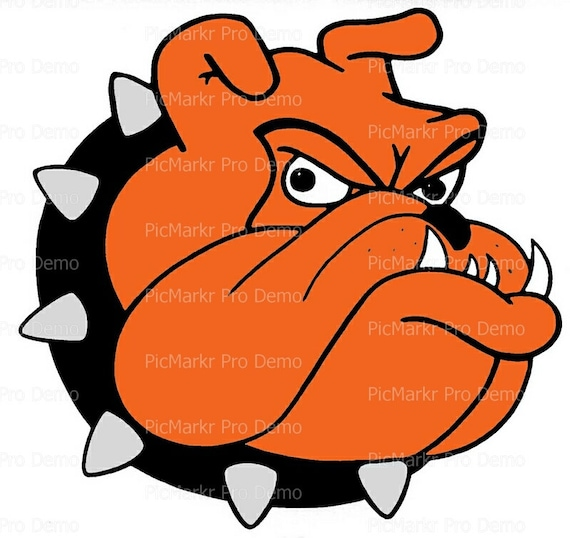 Orange Bulldog Mascot Birthday - Edible Cake and Cupcake Topper For Birthday's and Parties! - D20472