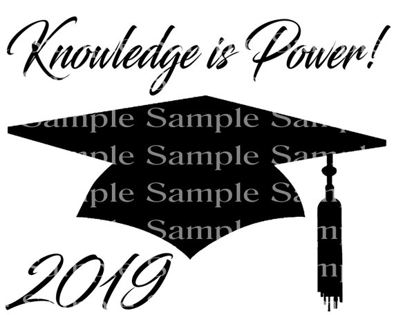 Knowledge is Power 2019 Graduation Cap - 2D Fondant Edible Cake & Cupcake Topper For Birthdays and Parties! - D24298