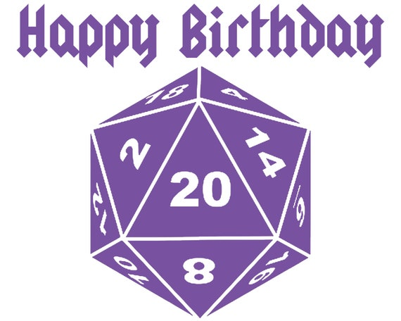 Purple Happy Birthday D20 Dice ~ Edible 2D Fondant Birthday Cake/Cupcake Topper ~ D24683