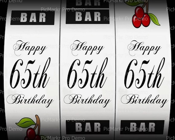 65th Birthday Casino Slot Machine - Edible Cake and Cupcake Topper For Birthday's and Parties! - D21871