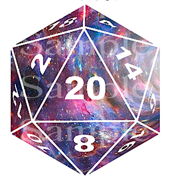 D20 Space Dice Birthday ~ Edible 2D Fondant Birthday Cake/Cupcake Topper ~ D24550