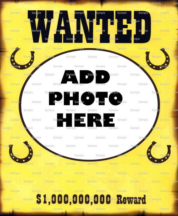 Wild West Wanted Poster Birthday Topper ~ Edible 2D Fondant Birthday Photo Frame Cake/Cupcake Topper ~ D4447
