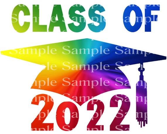 Class of 2022 Rainbow Graduation Cap - 2D Fondant Edible Cake & Cupcake Topper For Birthdays and Parties! - D24274