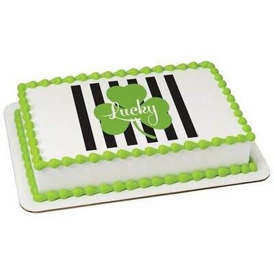 Surprising Lucky Shamrock St Patricks Day Edible 2D Fondant Birthday Birthday Cards Printable Trancafe Filternl