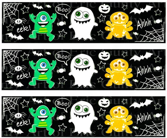 Halloween Ghouls and Ghosts - Birthday Background - Designer Strips - Edible Cake Side Toppers- Decorate The Sides of Your Cake! - D22550