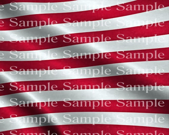Red and White United States Flag Stripes Birthday - 2D Fondant Edible Cake & Cupcake Topper For Birthdays and Parties! - D24346