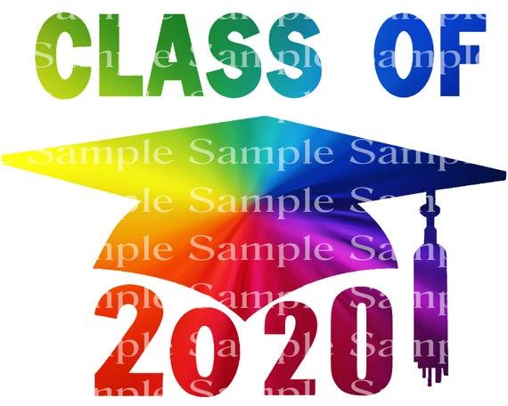 Class of 2020 Rainbow Graduation Cap - 2D Fondant Edible Cake & Cupcake Topper For Birthdays and Parties! - D24256