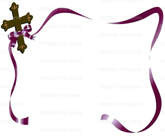 Cross and Ribbons Religious - Edible Cake and Cupcake Topper For Birthday's and Parties! - D2218