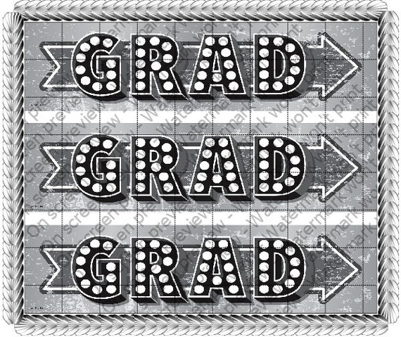 Marquee Graduation - Side Strips ~ Edible 2D Fondant Birthday Cake Side Toppers ~ D20690