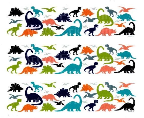 Dinosaurs - Birthday Background - Side Strips ~ Edible 2D Fondant Birthday Cake Side Toppers ~ D22204