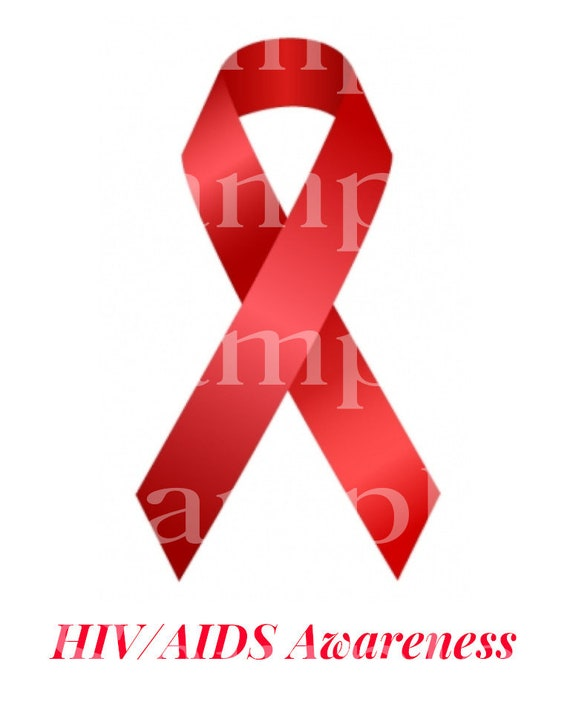 HIV AIDS Awareness Ribbon ~ Edible 2D Fondant Birthday Cake/Cupcake Topper ~ D24509