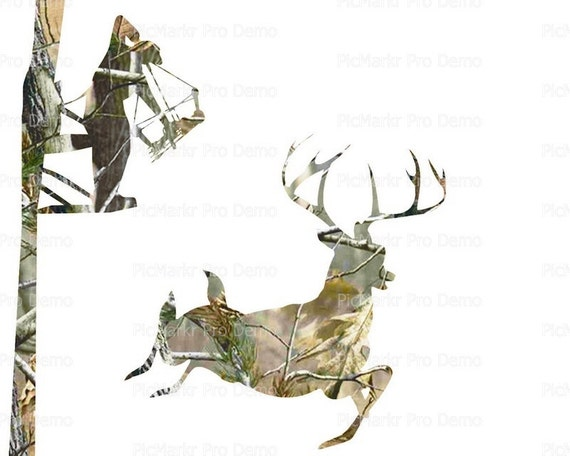 Deer Bow Hunting Camo ~ Edible 2D Fondant Birthday Cake/Cupcake Topper ~ D21646