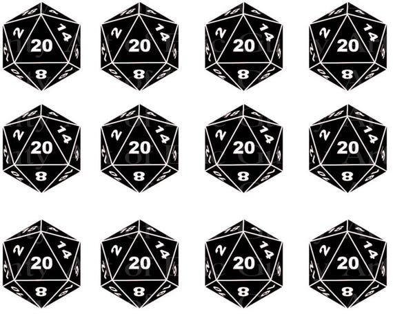 D20 Roleplay Dragons Dice ~ Edible 2D Fondant Birthday Cake Side Toppers ~ D23002