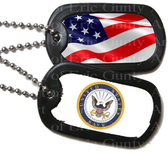 Navy Military Dog Tags Patriotic Birthday - Edible Cake and Cupcake Topper For Birthday's and Parties! - D22507
