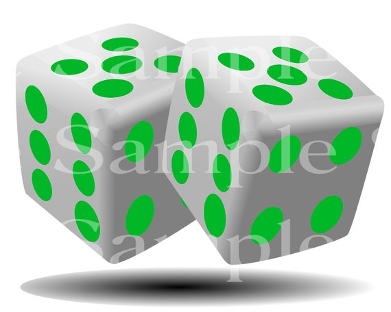 Green Dice Casino Poker Las Vegas Birthday ~ Edible 2D Fondant Birthday Cake Cupcake Topper ~ D24505