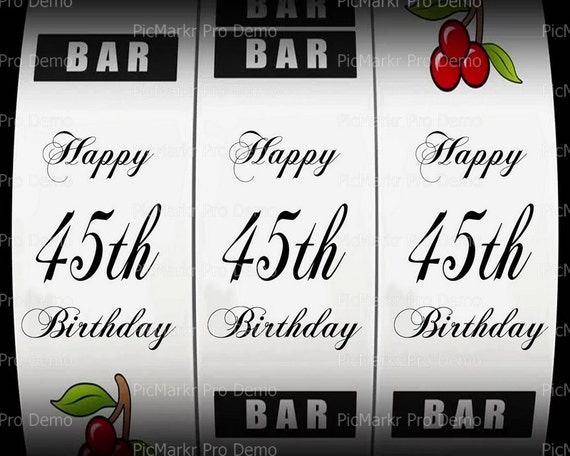 45th Birthday Casino Slot Machine ~ Edible 2D Fondant Birthday Cake/Cupcake Topper ~ D21867