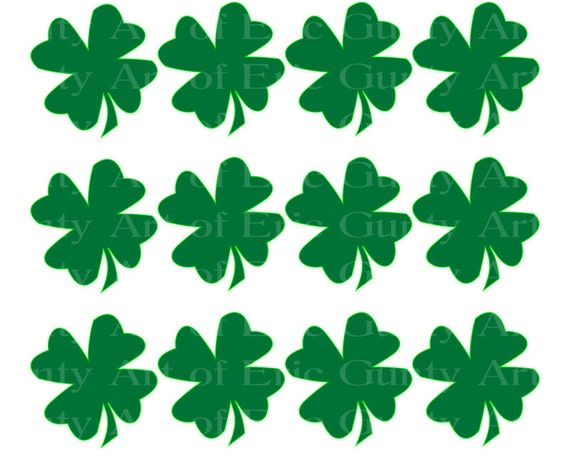Irish St. Patrick's Day Clover - Birthday Background - Side Strips ~ Edible 2D Fondant Birthday Cake Side Toppers ~ D22125
