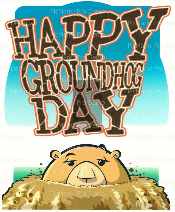 Happy Groundhog Day - Edible Cake and Cupcake Topper For Birthday's and Parties! - D788