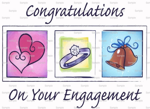 Congrats On Your Engagement Cake Background - Edible Cake and Cupcake Topper For Birthday's and Parties! - D3036