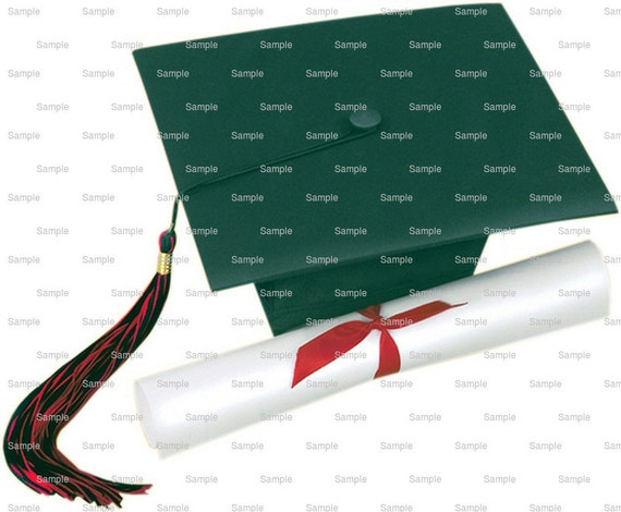 Green Graduation Cap & Diploma - Edible Cake and Cupcake Topper For Birthday's and Parties! - D5916