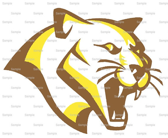 Brown & Gold Cougar Panther Team Mascot ~ Edible 2D Fondant Birthday Cake/Cupcake Topper ~ D10008