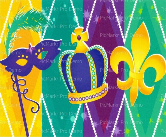 Mardi Gras ~ Edible 2D Fondant Birthday Cake/Cupcake Topper ~ D1464