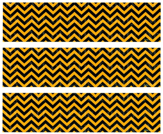Orange and Black Chevron - Birthday Background - Designer Strips - Edible Cake Side Toppers- Decorate The Sides of Your Cake! - D22562