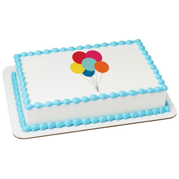 Balloons Happy Birthday - Edible Cake and Cupcake Topper For Birthday's and Parties! - D24084