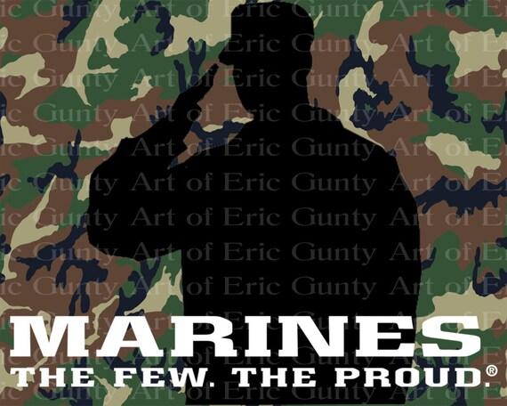 Marines Camo Birthday ~ Edible 2D Fondant Birthday Cake/Cupcake Topper ~ D21920