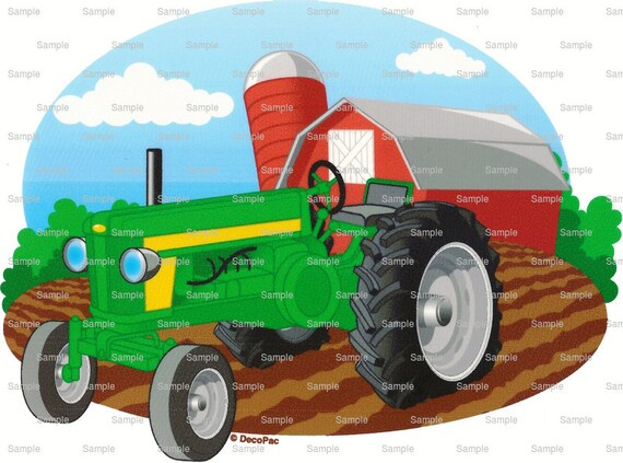 Green Farm Tractor Birthday - Edible Cake and Cupcake Topper For Birthday's and Parties! - D815