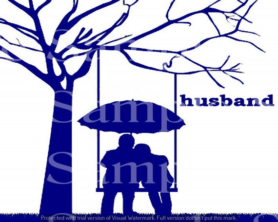 Blue Husband & Wife Silhouette Birthday ~ Edible 2D Fondant Birthday Cake/Cupcake Topper ~ D24621