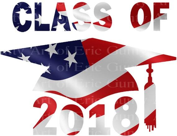 Class of 2018 Patriotic Graduation Cap ~ Edible 2D Fondant Birthday Cake/Cupcake Topper ~ D22809