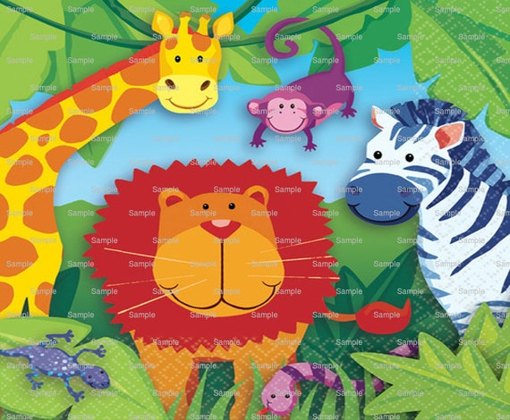 Jungle Animals Birthday - Edible Cake and Cupcake Topper For Birthday's and Parties! - D3758