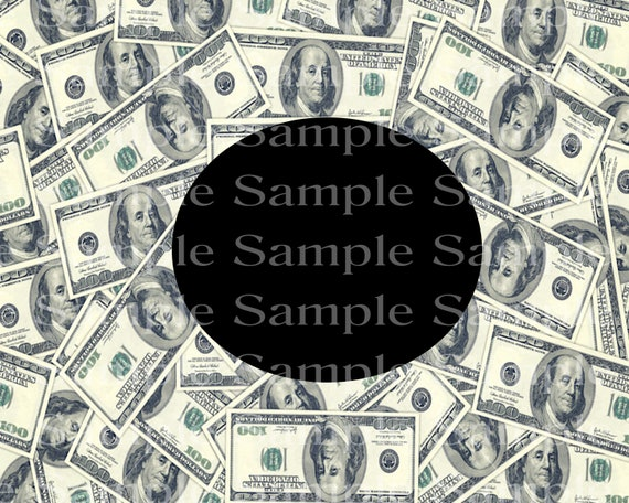 100 Dollar Bill Pile Casino Las Vegas Birthday - 2D Edible Fondant Cake/Cupcake Photo Frame For Birthdays and Parties! - D24391