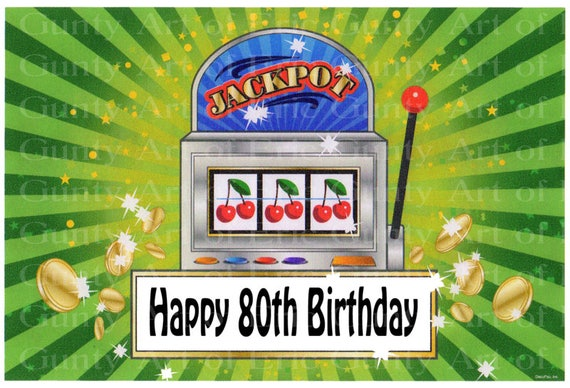 80th Birthday Las Vegas Casino Slot Machine - Edible Cake and Cupcake Topper For Birthday's and Parties! - D22614