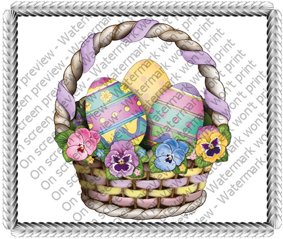 Easter Basket Birthday - Edible Cake and Cupcake Topper For Birthday's and Parties! - D20581