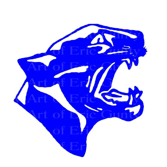 Blue Panther Cougar Mascot Birthday - Edible Cake and Cupcake Topper For Birthday's and Parties! - D22464