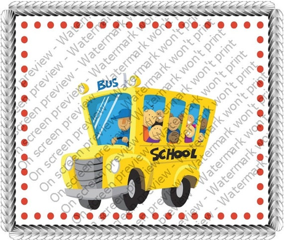 School Bus Birthday - Edible Cake and Cupcake Topper For Birthday's and Parties! - D7600