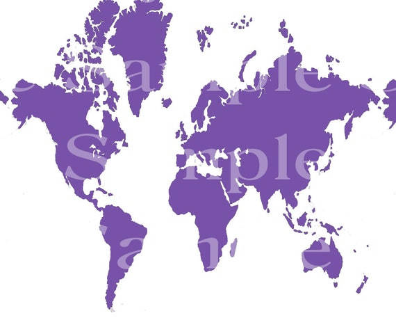 Purple World Map Birthday - 2D Fondant Edible Cake & Cupcake Topper For Birthdays and Parties! - D24543