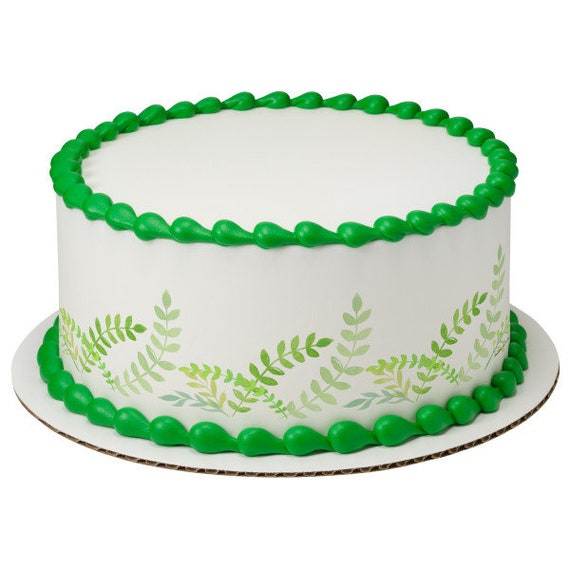 Spring Fern Plants Birthday - Edible Cake Side Toppers- Decorate The Sides of Your Cake! - D24100