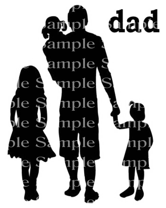 Dad & Kids Silhouette Background - 2D Edible Cake/Cupcake Topper For Birthdays and Parties! - D24306