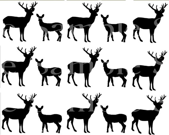 Grazing Deer Hunting ~ Edible 2D Fondant Birthday Cake Side Toppers ~ D24496
