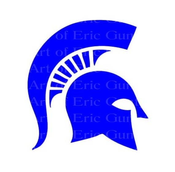 Blue  Spartan Trojan Mascot Birthday - Edible Cake and Cupcake Topper For Birthday's and Parties! - D22463