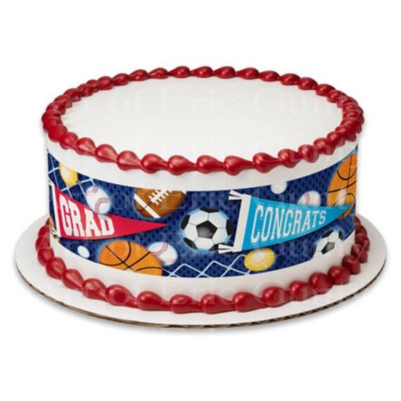 Sports Grad Graduation - Side Strips ~ Edible 2D Fondant Birthday Cake Side Toppers ~ D22038