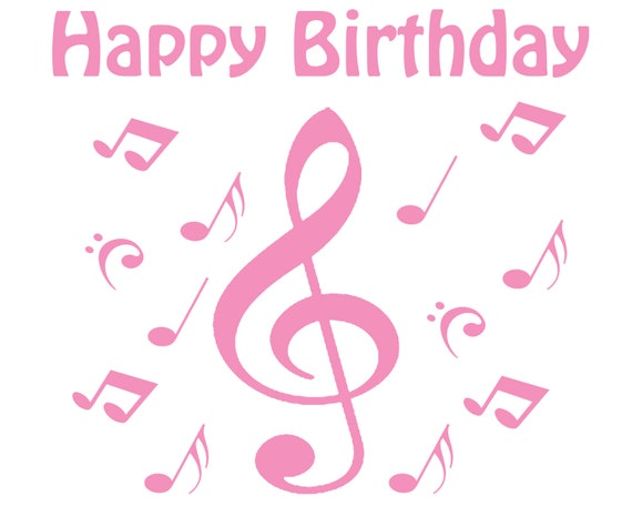 Pink Happy Birthday Music Notes ~ Edible 2D Fondant Birthday Cake/Cupcake Topper ~ D24648